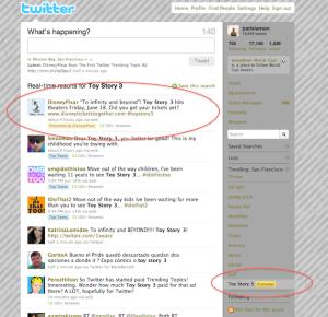 Ejemplo de anuncios en Twitter. Toy Story 3.