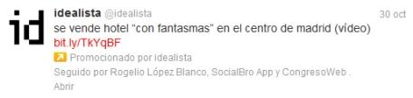 Tweet promocionado por Idealista.